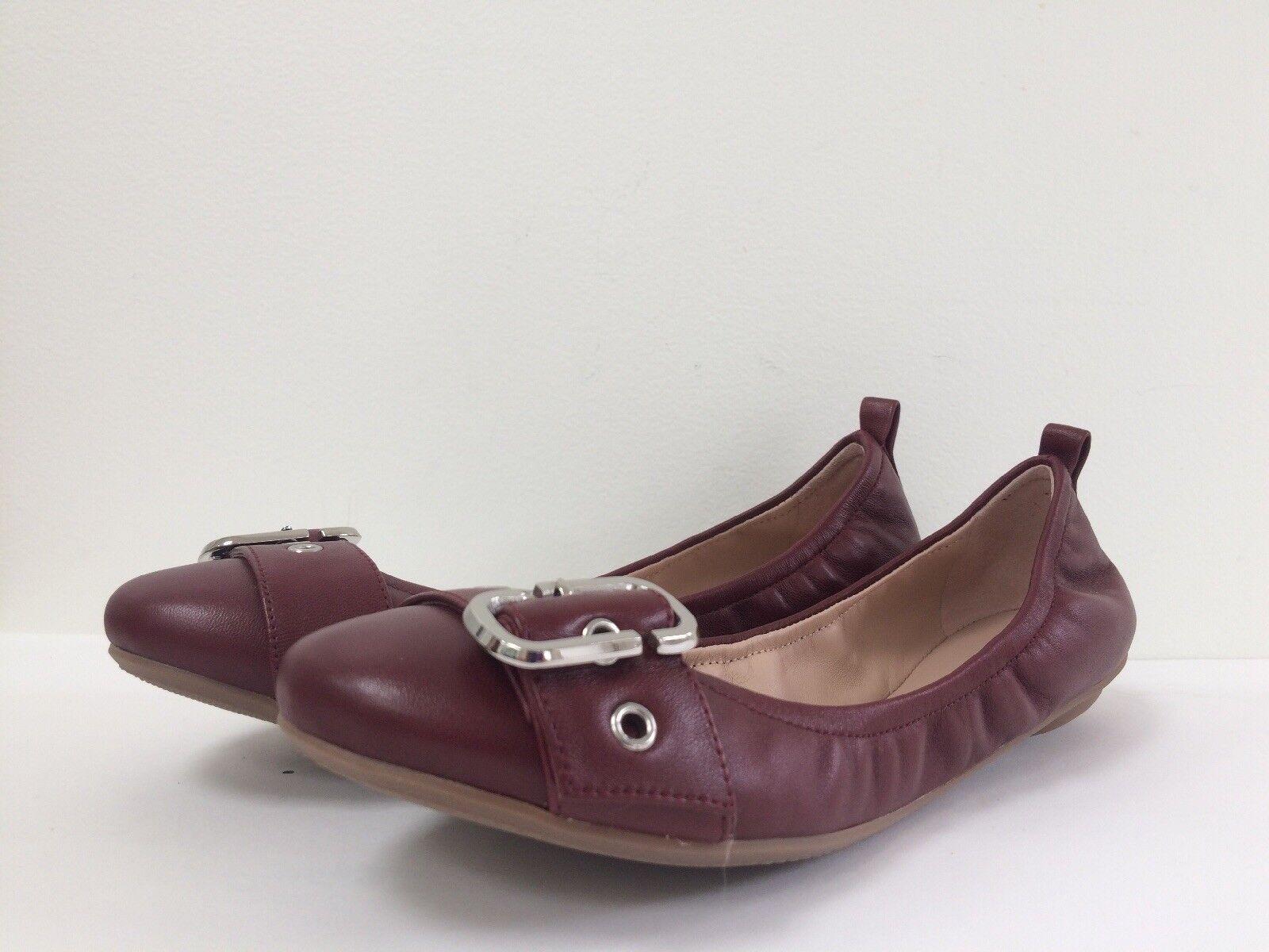 NIB Marc Jacobs Flat Dolly Pelle Buckled Ballerina Flat Jacobs 36.5 US 6.5 New Bordeaux 58aa21