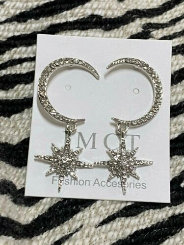 Moon and Star Crystal Star Dangling Silver Earrings UK Seller NEW Xmas Gift