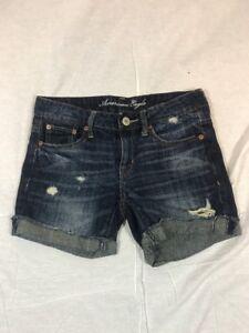Women-s-American-Eagle-Distress-Medium-Wash-Bermuda-Jean-Shorts-Size-0