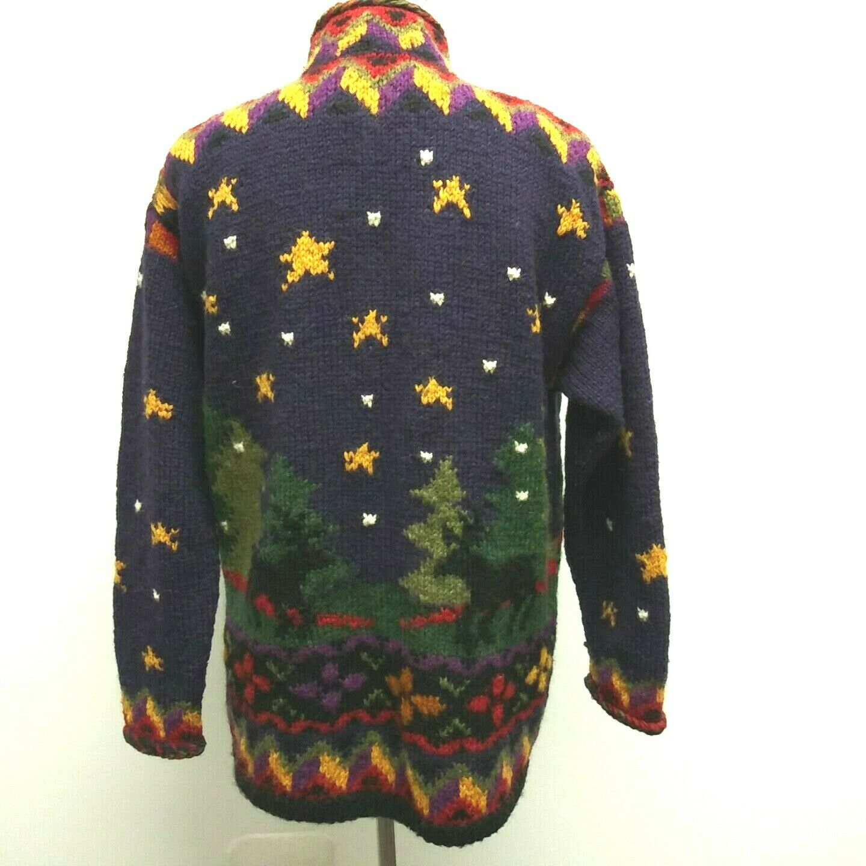 Newari Icelandic Designs Nepal Wearable Wearable Wearable Art Chunky Wool Button Cardigan Sweater e3fb1e