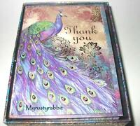 Punch Studio Peacock Thank You Cards Set Of 12 - Gold Foil Accents -
