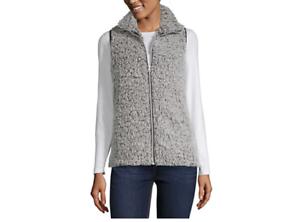 Women-039-s-Say-What-Plush-Zip-Up-Vest-Color-Charcoal-Size-XL-MSRP-49
