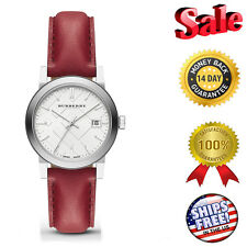 NEW 100% Authentic Burberry Check Stamped Red Leather Ladies Watch BU9129.