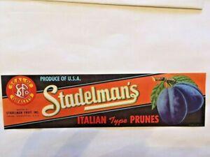 ORIGINAL PRUNE CRATE LABEL YAKIMA WASHINGTON 1950S STADELMAN/'S FRUIT ITALIAN