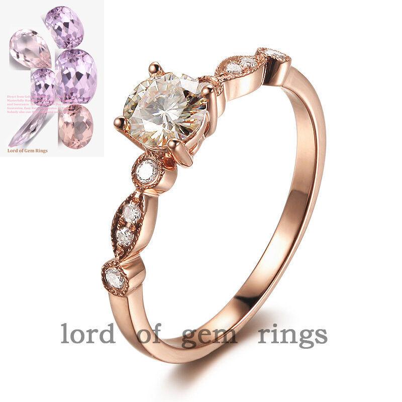 Real 14K gold 0.5ctw Moissanite 5mm Round Cut Art Deco Diamonds Engagement Ring