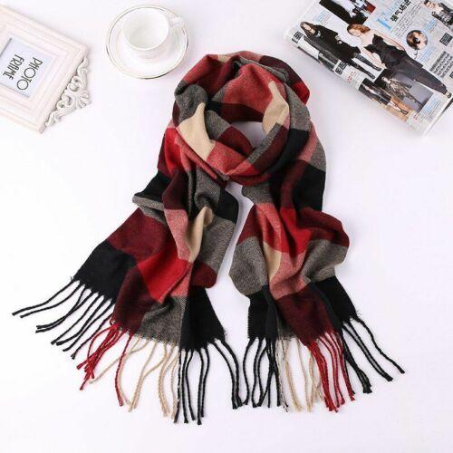 Men/'s Winter Scarf Warm Plaid Scarf Cashmere Scarves Long Shawl Wrap Blankets
