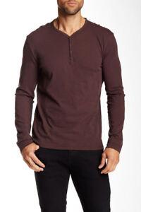 John Varvatos Star USA Men/'s Bordeaux Red Thermal Henley Long Sleeve Shirt