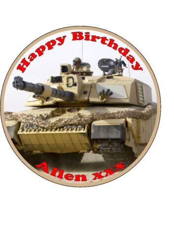 Personnalisé Army Tank comestibles gâteau d/'Anniversaire Topper Easy Peel Givrage Ronde