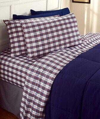 4-PC PLAID KING SIZE COTTON FLANNEL SHEET SET WINTER BEDROOM HOME DECOR