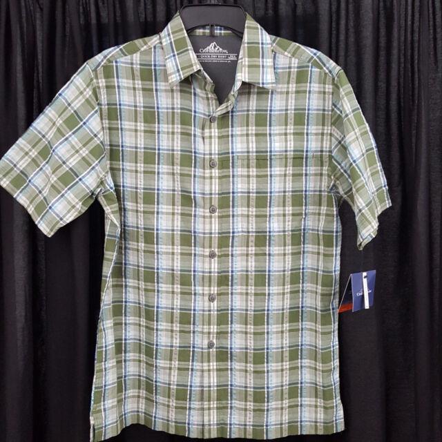 af52b6375a57 Croft Barrow Mens Shirt S Quick Dry Easy Care Plaid Seersucker Button Down  Green