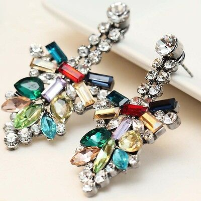 2018 New design women gorgeous bib statement  mixed crystal long 36mm Earrings