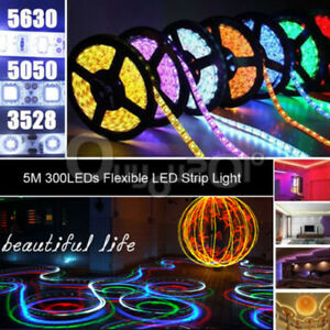 5M-Striscia-A-LED-Multicolore-3528-5050-LED-RGB-Con-Telecomando-E-Alimentatore