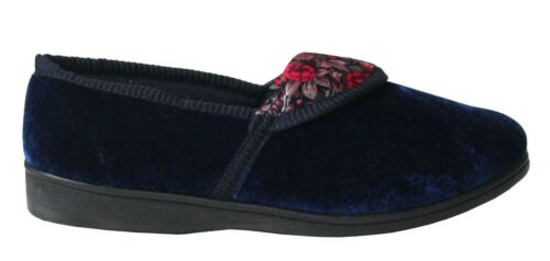 Womens Ladies Velour Floral Pattern Slip On Comfort Hard Sole Slippers Shoe Size