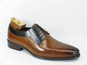 NIB-Carrucci-Men-039-s-Leather-Lace-Up-Shoes-in-Cognac-Navy-KS099-721T