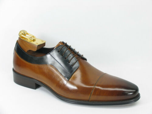 NIB Carrucci Men/'s Leather Lace Up Shoes in Cognac//Navy KS099-721T