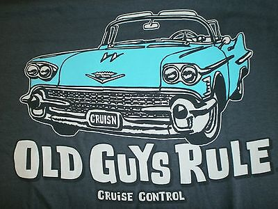 """OLD GUYS RULE """" CRUISE CONTROL """" CADILLAC LOW RIDER  BEACH POCKET-T SIZE XXL"""