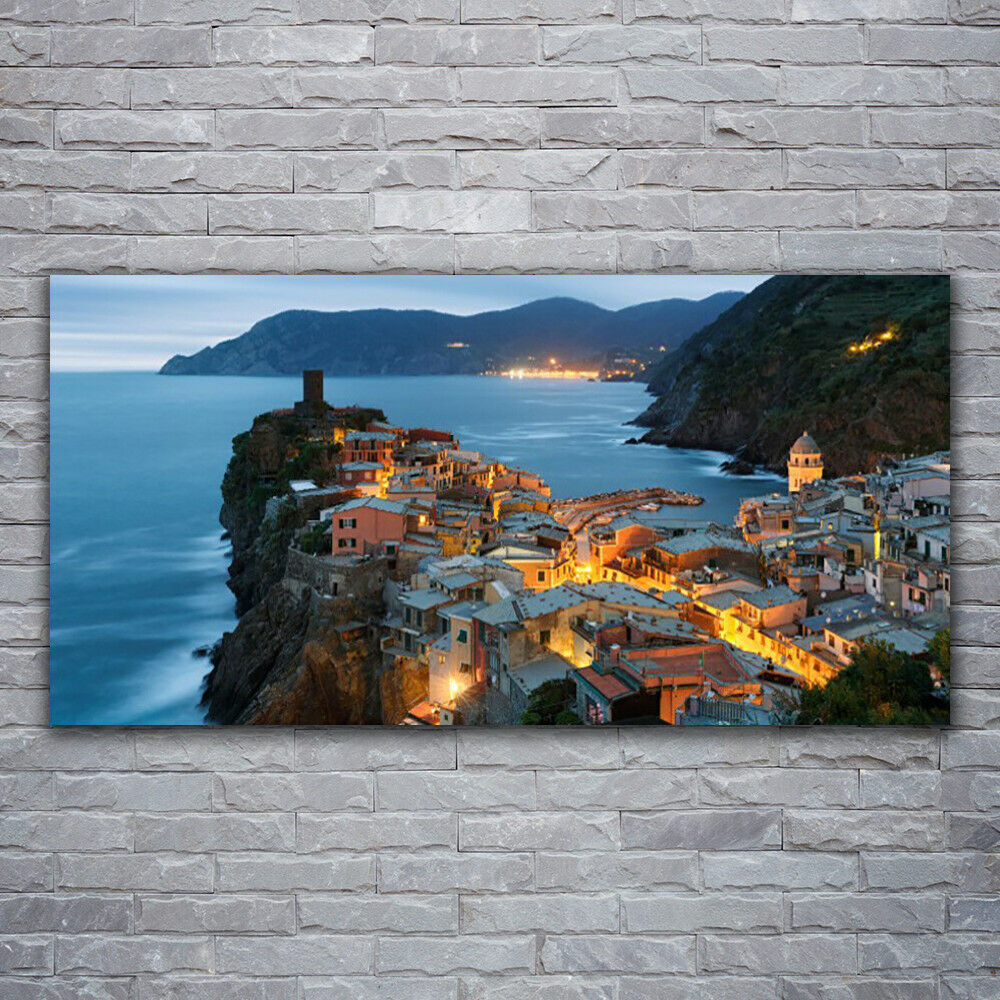 Glass print Wall art 120x60 Image Picture Sea Town Landscape