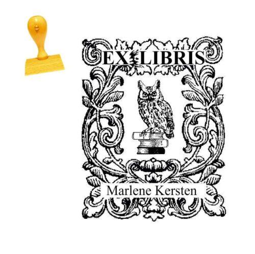 Buch Bibliothek EX LIBRIS Stempel « Eule UHU Kauz »  mit pers Namen