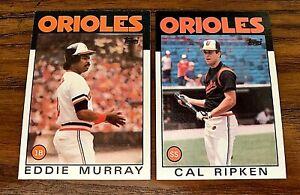 1986 Topps #30 Eddie Murray and #340 Cal Ripken JR - Orioles HOF