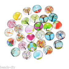 BD 20x Glass Mixed Tree10mm Dome Cameo Cabochon for Jewelry Making
