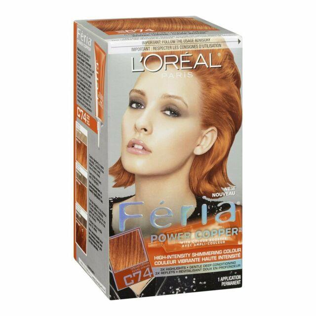 L'Oréal Feria Permanent Hair Color Power Copper C74 Intense Copper, 1 ct, 2 Pack