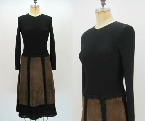 60s 70s Goldworm sweater dress with suede skirt