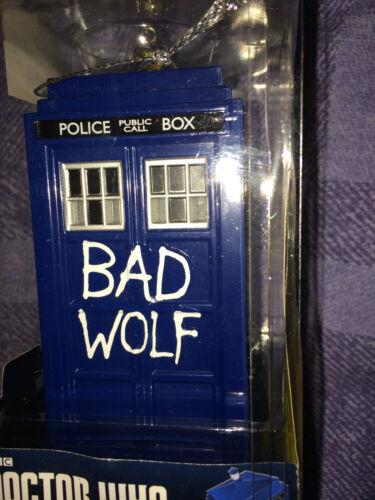 Doctor who kurts alder  bad wolf  light up   tardis   christmas  ornament