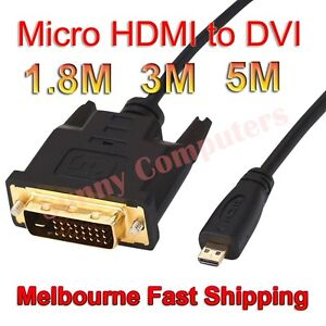 100-Brand-New-Micro-HDMI-Male-to-DVI-D-M-M-Adapter-Cable-Gold-Plated-5M-3M-AU