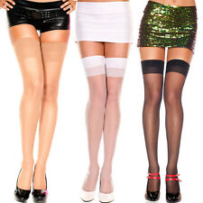 TWO PAIRS Sheer Simple Neutral Colors Thigh High Hi Stockings Medium/Plus Size