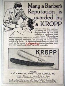 KROPP-039-Cut-Throat-039-Razor-Barber-Shaving-ADVERT-Original-Small-1922-Print-AD