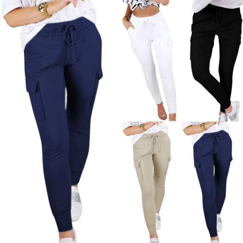 Damen Cargo-Hose High Waist Leggings Laufhose Stretch Schlupfhose Lang Hosen 2XL