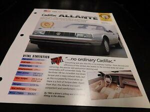 1987-1993 Cadillac Allante Spec Sheet Brochure Photo ...