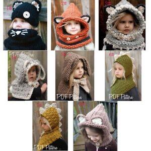 Winter Beanie Baby Infant Animal Warm Fox Hat Hooded Scarf Earflap ... ed48ae80f7d
