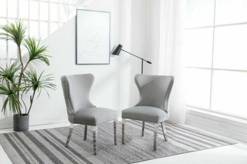 Florence Light Grey Chrome Knocker Plush Velvet Dining Chair