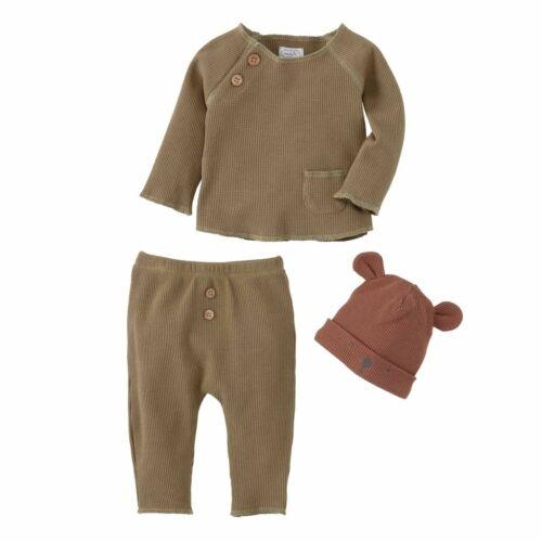 Pants /& Cap Hat 3pc Set 11010277 Choose Mud Pie H0 Baby Boy Bear Waffle Top