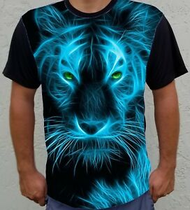 505abf7b5708 Fire Bue Animal Tiger Face Print Front Men's Short Sleeve Basic Tee ...
