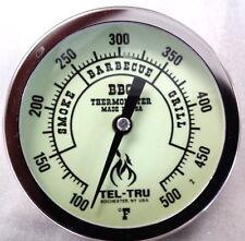"""Tel-Tru BQ300 Glow in the Dark BBQ Grill & Smoker Thermometer 3"""" Dial, 2.5"""" Stem"""