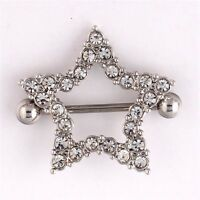 Star Nipple Ring Pair Jewelry Clear Gem Stainless Steel Shield