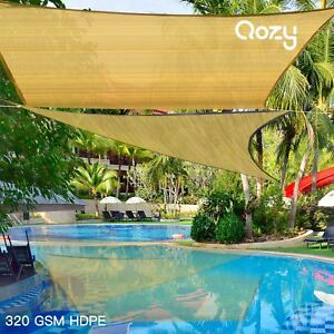 Qozy-SUPER-Extra-Heavy-Duty-Sun-Shade-Sail-320gsm-Square-Rectangle-Triangle-Sand