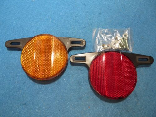 "vintage Schwinn Retro Bicycle Wheel Reflectors  2-1//2/"" Red//Orange Set of 2 New"