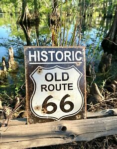 Old-Route-66-Weathered-Vintage-Metal-Tin-Sign-Wall-Decor-Garage-Man-Cave-Bar-Art