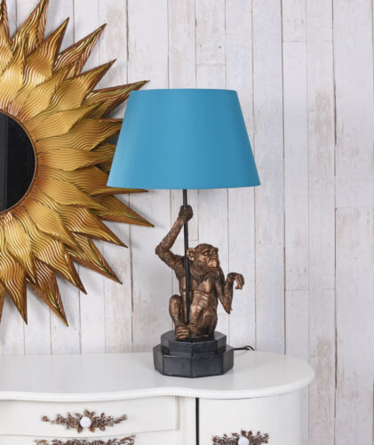 Affenleuchte Nachttischlampe Affe Lampe Monkey Tischlampe Tischleuchte Gold Blau