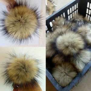 2x-10cm-Large-Faux-Raccoon-Fur-Pom-Pom-Ball-with-Press-Button-for-Knitting-Hat
