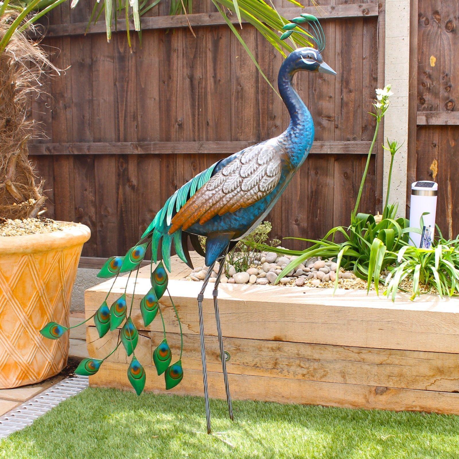 In piedi in metallo Pavone Decorazione Giardino 1m Tall Bird SCULTURA consegna gratuita D1