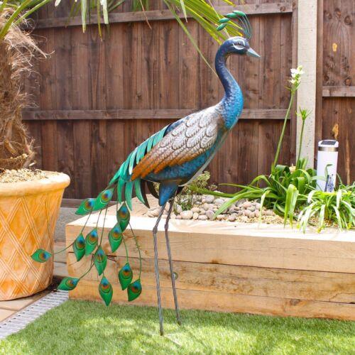 Standing Metal Peacock Garden Bird Ornament Sculpture 1m Tall FREE DELIVERY D1