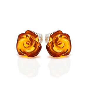 925-Sterling-Silver-Stud-Earrings-Rose-with-Honey-Genuine-Natural-Baltic-Amber