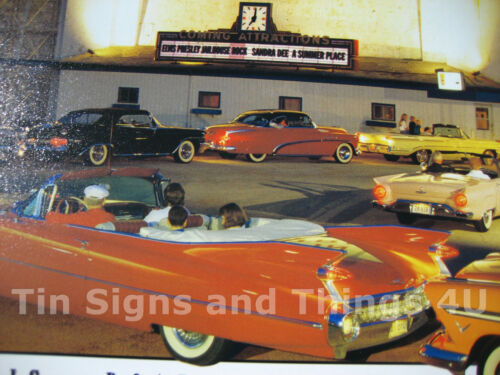 Park In Theatre Route 66 TIN SIGN vtg 50s car drive metal poster wall decor 1477