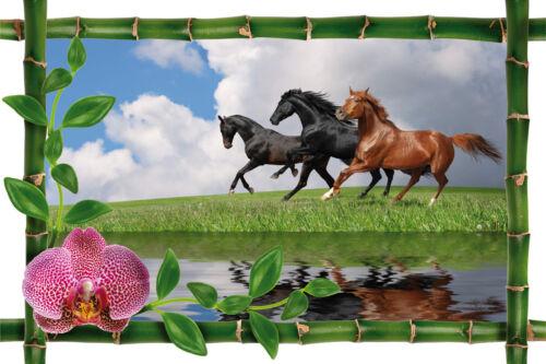 Wall sticker trompe l/'oeil deco bamboo horses ref 968