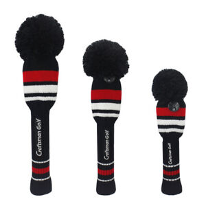 Craftsman-Golf-Knit-Pom-Pom-Club-Head-Covers-Set-Driver-Fairway-Wood-Head-Covers