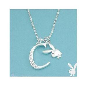 Playboy-Necklace-Letter-C-Pendant-Bunny-Charm-Swarovski-Crystal-Silver-Chain-Box